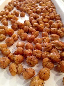 chickpeas roasted up close