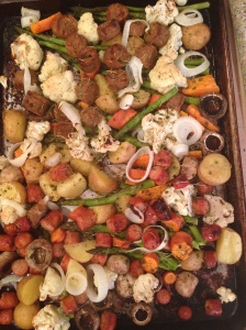 sausage veggies cooked
