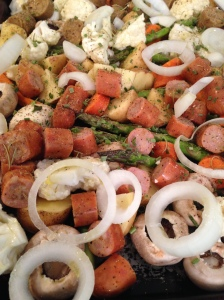 sausage veggies uncooked close up