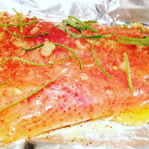 Salmon waiting to be baked