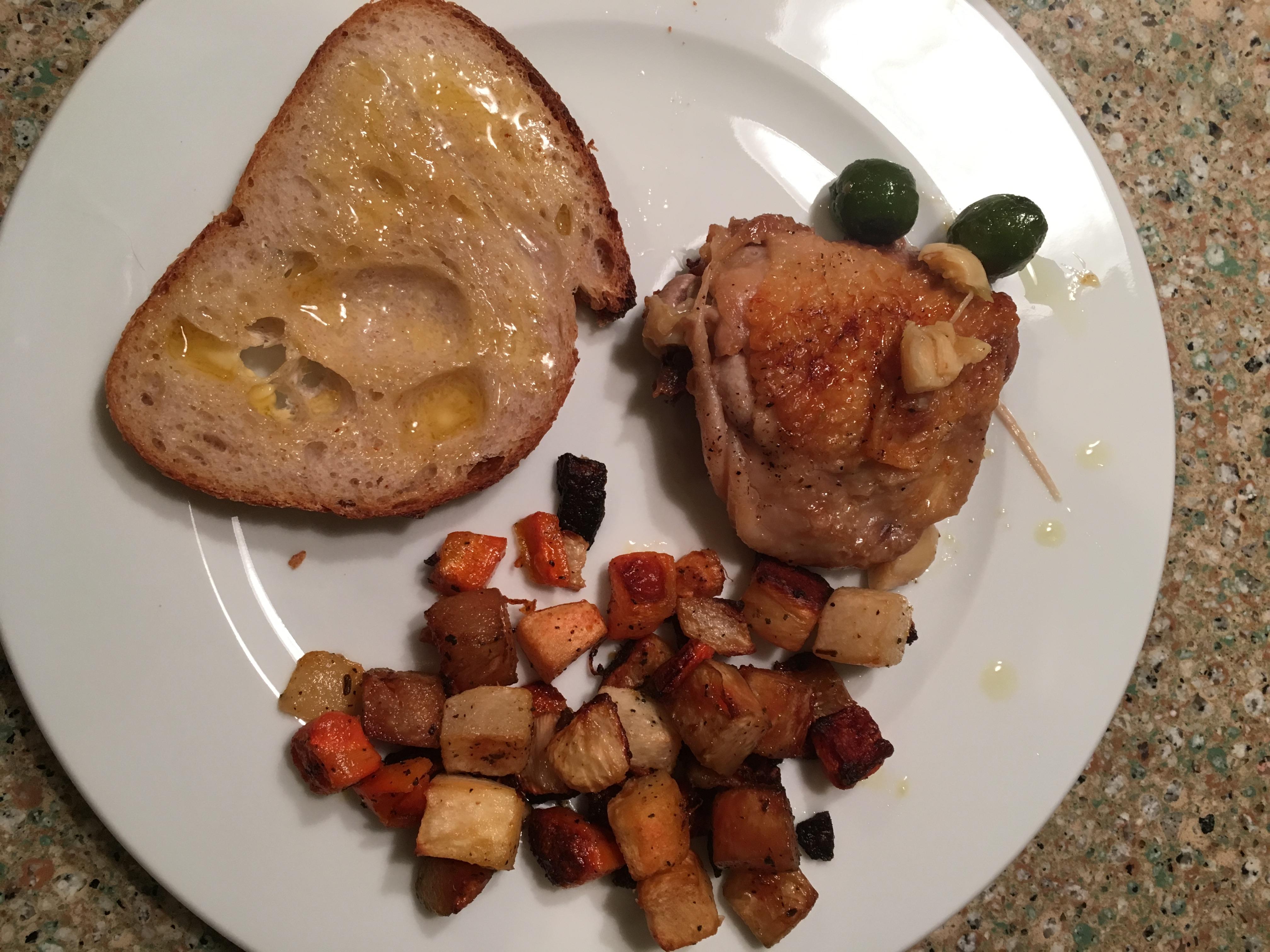 braised chicken plated