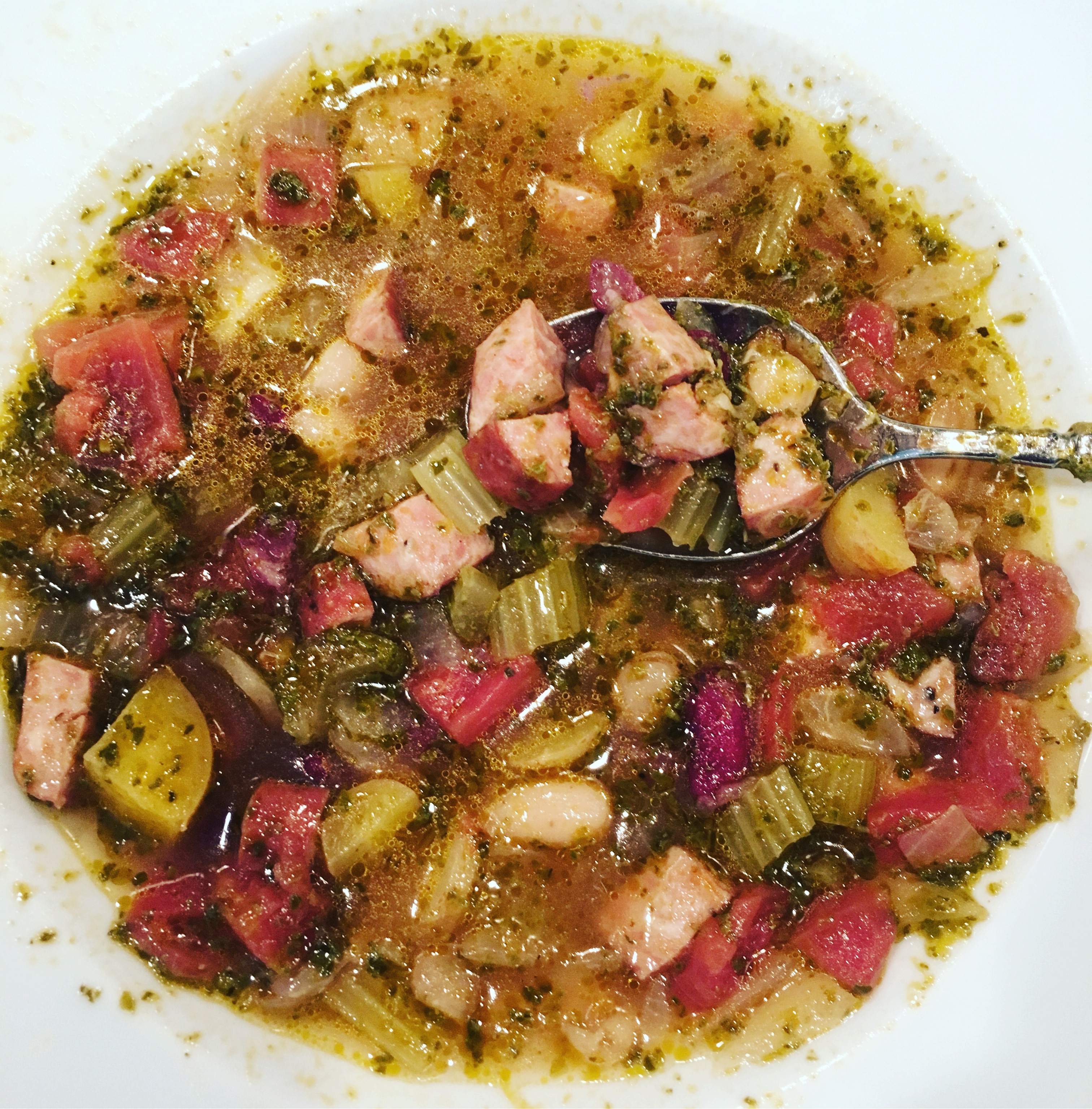 chicken apple sausage and bean soup